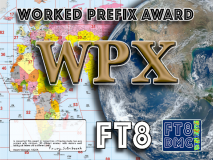 WPX Award Manager A92AA In recognition of international two-way FT8 amateur radio communication, the FT8 Digital Mode Club (FT8DMC) issues Worked-All-Prefix certificates to amateur radio stations of the world. Qualification for the FT8 WPX award is based on an examination by the FT8 WPX Award Manager, from QSOs that the applicant has made contacts with minimum 100 different amateur radio stations each having call letters with a different prefix. Levels: 500, 1000 Prefixes All contacts must be made from the same country. Band endorsements for 6, 10, 12, 15, 17, 20, 30, 40, 80 and 160m available.