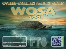 WOSA Award Manager ZL1MVL In recognition of international two-way FT8 amateur radio communication, the FT8 Digital Mode Club (FT8DMC) issues Worked-Oceanian-Stations-Award certificates to amateur radio stations of the world. Qualification for the FT8 WOSA award is based on an examination by the FT8 WOSA Award Manager, from QSOs that the applicant has made contact with minimum 100 Oceanian amateur radio stations each having a different callsign.All contacts must be made from the same country (DXCC-entity). Levels: 100, 200, 300, 400, 500, 600, 700, 800, 900, 1000, 1100, 1200, 1300