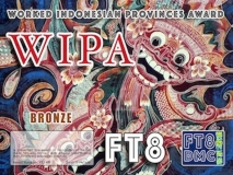 WIPA Award Manager YE1AR In recognition of international two-way FT8 amateur radio communication, the FT8 Digital Mode Club (FT8DMC) issues Worked-Indonesia-Provinces-Award certificates to amateur radio stations of the world. Qualification for the FT8 WIPA award is based on an examination by the FT8 WIPA Award Manager, from QSOs that the applicant has made contacts with amateur radio stations from all Indonesian provinces. All contacts must be made from the same country (DXCC- entity). Band endorsements for 6, 10, 12, 15, 17, 20, 30, 40, 80 and 160m available. Following levels available: Bronze 25, Silver 30, Gold 34 (ALL) Indonesian provinces worked.