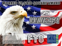 WUGSA Award Manager 9K2OW In recognition of international two-way FT8 amateur radio communication, the FT8 Digital Mode Club (FT8DMC) issues Worked-US-Grid-Square-Award certificates to amateur radio stations and SWL of the world. Qualification for the FT8 WUGSA award is based on an examination by the FT8 WUGSA Award Manager. The applicant has to prove that he has made contact with amateur radio stations from minimum 25 different US Grid Locators. All contacts must be made from the same country (DXCC-entity) Following levels available: 25,50,75,100,150,200,300 USA Grid Locators worked.