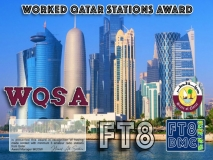 WQSA Award Manager 9K2OW In recognition of international two-way FT8 amateur radio communication, the FT8 Digital Mode Club (FT8DMC) issues Worked-Qatar-Stations-Award certificates to amateur radio stations of the world. Qualification for the FT8 WQSA award is based on an examination by the FT8 WQSA Award Manager, from QSOs that the applicant has to prove that he has made contact with at least 3 different amateur radio stations from Qatar. All contacts must be made from the same country. Band endorsements for 2, 4, 6, 10, 12, 15, 17, 20, 30, 40, 60, 80 and 160m available.