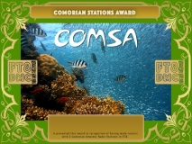 COMSA Award Manager A92AA In recognition of international two-way FT8 amateur radio communication, the FT8 Digital Mode Club (FT8DMC) issues Comorian-Stations-Award certificates to amateur radio stations and SWL of the world. Qualification for the FT8 COMSA award is based on an examination by the FT8 COMSA Award Manager. The applicant has to prove that he has made contact with at least 2 different amateur radio stations from Comores. All contacts must be made from the same country (DXCC entity).