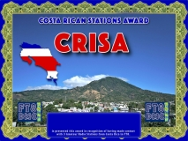 CRISA Award Manager DJ6OI In recognition of international two-way FT8 amateur radio communication, the FT8 Digital Mode Club (FT8DMC) issues Costa Rican-Stations-Award certificates to amateur radio stations and SWL of the world. Qualification for the FT8 CRISA award is based on an examination by the FT8 CRISA  Award Manager. The applicant has to prove that he has made contact with at least 3 different amateur radio stations from Costa Rica. All contacts must be made from the same country (DXCC entity).