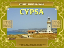 CYPSA Award Manager ZL1MVL In recognition of international two-way FT8 amateur radio communication, the FT8 Digital Mode Club (FT8DMC) issues Cypriot-Stations-Award certificates to amateur radio stations and SWL of the world. Qualification for the FT8 CYPSA award is based on an examination by the FT8 CYPSA Award Manager. The applicant has to prove that he has made contact with at least 5 different amateur radio stations from Cyprus. All contacts must be made from the same country (DXCC entity).