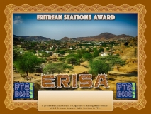 ERISA Award Manager A92AA  recognition of international two-way FT8 amateur radio communication, the FT8 Digital Mode Club (FT8DMC) issues Eritrean-Stations-Award certificates to amateur radio stations and SWL of the world. Qualification for the FT8 ERISA award is based on an examination by the FT8 ERISA Award Manager. The applicant has to prove that he has made contact with at least 2 different amateur radio stations from Eritrea. All contacts must be made from the same country (DXCC entity).