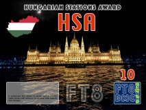 HSA Award Manager DK5UR In recognition of international two-way FT8 amateur radio communication, the FT8 Digital Mode Club (FT8DMC) issues Hungarian-Stations-Award certificates to amateur radio stations and SWL of the world. Qualification for the FT8 HSA award is based on an examination by the FT8 HSA Award Manager. The applicant has to prove that he has made contact with at least 10 different amateur radio stations from Hungary. All contacts must be made from the same country (DXCC entity). Levels: CLASSIII: 10Stationsworked CLASS II: 25 Stations worked CLASS I: 50 Stations worked