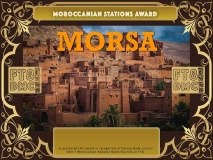 MORSA Award Manager A92AA recognition of international two-way FT8 amateur radio communication, the FT8 Digital Mode Club (FT8DMC) issues Morocconian-Stations-Award certificates to amateur radio stations and SWL of the world. Qualification for the FT8 MORSA award is based on an examination by the FT8 MORSA Award Manager. The applicant has to prove that he has made contact with at least 5 different amateur radio stations from Morocco. All contacts must be made from the same country (DXCC entity).