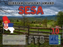 SESA Award Manager DK5UR In recognition of international two-way FT8 amateur radio communication, the FT8 Digital Mode Club (FT8DMC) issues Serbian-Stations-Award certificates to amateur radio stations and SWL of the world. Qualification for the FT8 SESA award is based on an examination by the FT8 SESA Award Manager. The applicant has to prove that he has made contact with at least 10 different amateur radio stations from Serbia. All contacts must be made from the same country (DXCC entity). Levels: CLASSIII: 10Stationsworked CLASS II: 25 Stations worked CLASS I: 50 Stations worked
