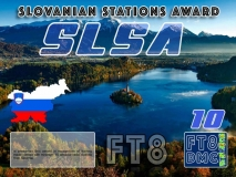 SLSA Award Manager DK5UR In recognition of international two-way FT8 amateur radio communication, the FT8 Digital Mode Club (FT8DMC) issues Slovenian-Stations-Award certificates to amateur radio stations and SWL of the world. Qualification for the FT8 SLSA award is based on an examination by the FT8 SLSA Award Manager. The applicant has to prove that he has made contact with at least 10 different amateur radio stations from Slovenia. All contacts must be made from the same country (DXCC entity). CLASSIII: 10Stationsworked CLASS II: 25 Stations worked CLASS I: 50 Stations worked