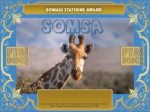 SOMSA Award Manager A92AA In recognition of international two-way FT8 amateur radio communication, the FT8 Digital Mode Club (FT8DMC) issues Somali-Stations-Award certificates to amateur radio stations and SWL of the world. Qualification for the FT8 SOMSA award is based on an examination by the FT8 SOMSA Award Manager. The applicant has to prove that he has made contact with at least 2 different amateur radio stations from Somalia. All contacts must be made from the same country (DXCC entity).