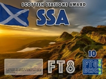 SSA Award Manager ZL1MVL In recognition of international two-way FT8 amateur radio communication, the FT8 Digital Mode Club (FT8DMC) issues Scottish-Stations-Award certificates to amateur radio stations and SWL of the world. Qualification for the FT8 SSA award is based on an examination by the FT8 SSA Award Manager. The applicant has to prove that he has made contact with at least 10 different amateur radio stations from Scotland. All contacts must be made from the same country (DXCC entity). Levels: CLASSIII: 10Stationsworked CLASS II: 25 Stations worked CLASS I: 50 Stations worked