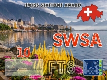 SWSA Award Manager DK5UR In recognition of international two-way FT8 amateur radio communication, the FT8 Digital Mode Club (FT8DMC) issues Swiss-Stations-Award certificates to amateur radio stations and SWL of the world. Qualification for the FT8 SWSA award is based on an examination by the FT8 SWSA Award Manager. The applicant has to prove that he has made contact with at least 10 different amateur radio stations from Switzerland. All contacts must be made from the same country (DXCC entity). Levels: CLASSIII: 10Stationsworked CLASS II: 25 Stations worked CLASS I: 50 Stations worked