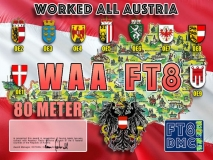 WAA Award Manager OE1SGU In recognition of international two-way FT8 amateur radio communication, the FT8 Digital Mode Club (FT8DMC) issues Worked-All-Austria certificates to amateur radio stations of the world. Qualification for the FT8 WAA award is based on an examination by the FT8 WAA Award Manager, from QSOs that the applicant has made with amateur radio stations from all 9 federal counties ( OE1, OE2, OE3, OE4, OE5, OE6, OE7, OE8, OE9 ) in the Republic of Austria . All contacts must be made from the same country. Band endorsements for 6, 10, 12, 15, 17, 20, 30, 40, 80 and 160m available.
