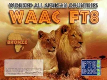 WAAC Award Manager IK8YFU In recognition of international two-way FT8 amateur radio communication, the FT8 Digital Mode Club (FT8DMC) issues Worked-All-African-Countries certificates to amateur radio stations and SWL of the world. Qualification for the FT8 WAAC award is based on an examination by the FT8 WAAC Award Manager. The applicant has to prove that he has made contact with amateur radio stations from all African Countries. Following levels available: Bonze 30 Silver 50 Gold ALL 78 African Countries worked. All contacts must be made from the same country (DXCC-entity).