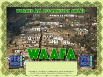WAAFA Award Manager 9K2OW In recognition of international two-way FT8 amateur radio communication, the FT8 Digital Mode Club (FT8DMC) issues Worked-All-Afghanistan-Award certificates to amateur radio stations and SWL of the world. Qualification for the FT8 WAAFA award is based on an examination by the FT8 WAAFA Award Manager. The applicant has to prove that he has made contact with at least 2 different amateur radio stations from Afghanistan. All contacts must be made from the same country (DXCC entity)
