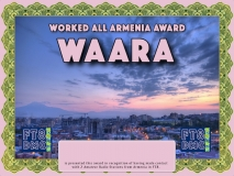 WAARA Award Manager 9K2OW In recognition of international two-way FT8 amateur radio communication, the FT8 Digital Mode Club (FT8DMC) issues Worked-All-Armenia-Award certificates to amateur radio stations and SWL of the world. Qualification for the FT8 WAARA award is based on an examination by the FT8 WAARA Award Manager. The applicant has to prove that he has made contact with at least 2 different amateur radio stations from Armenia. All contacts must be made from the same country (DXCC entity)