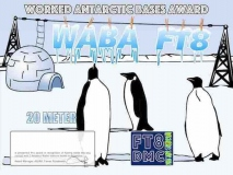 WABA Award Manager A92AA In recognition of international two-way FT8 amateur radio communication, the FT8 Digital Mode Club (FT8DMC) issues Worked-Antarctic-Bases-Award certificates to amateur radio stations of the world. Qualification for the FT8 WABA award is based on an examination by the FT8 WAA Award Manager, from QSOs that the applicant has made with minimum 3 different amateur radio stations from Antarctica . All contacts must be made from the same country. Band endorsements for 6, 10, 12, 15, 17, 20, 30, 40, 80 and 160m available.