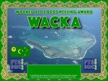 WACKA Award Manager ZL1MVL In recognition of international two-way FT8 amateur radio communication, the FT8 Digital Mode Club (FT8DMC) issues Worked-All-Cocos-Keeling-Award certificates to amateur radio stations and SWL of the world. Qualification for the FT8 WACKA award is based on an examination by the FT8 WACKA Award Manager. The applicant has to prove that he has made contact with at least 2 different amateur radio stations from Cocos Keeling. All contacts must be made from the same country (DXCC entity)