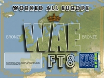 WAE Award Manager 9K2OW In recognition of international two-way FT8 amateur radio communication, the FT8 Digital Mode Club (FT8DMC) issues Worked-Europe-Award certificates to amateur radio stations and SWL of the world. Qualification for the FT8 WAE award is based on an examination by the FT8 WAE Award Manager, from QSOs that the applicant has made with amateur radio stations from the European Countries List WAE. All contacts must be made from the same country. Four classes available: WAE Bronze : 40 countries WAE Silver : 50 countries WAE Gold : 60 countries WAE Platinum : All 73 countries of the WAE list