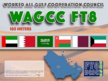 WAGCC Award Manager A92AA In recognition of international two-way FT8 amateur radio communication, the FT8 Digital Mode Club (FT8DMC) issues Worked-All-Gulf-Cooperation-Council certificates to amateur radio stations of the world. Qualification for the FT8 WAGCC award is based on an examination by the FT8 WAGCC Award Manager, from QSOs that the applicant has made contact with one amateur radio station from each member state of the Gulf Cooperation Council in the Arabian Gulf . All contacts must be made from the same country. Band endorsements for 10, 12, 15, 17, 20, 40, 80 and 160m available.