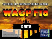 WAGP Award Manager DM2RM In recognition of international two-way FT8 amateur radio communication, the FT8 Digital Mode Club (FT8DMC) issues Worked-All-Germany-Prefix-Award certificates to amateur radio stations of the world. Qualification for the FT8 WAGP award is based on an examination by the FT8 WAGP Award Manager, from QSOs that the applicant has made contact with German amateur stations from each German Prefix: DA, DB, DC, DD, DF, DG, DH, DJ, DK, DL, DM, DN, DO, DQ, DR . All contacts must be made from the same country. Band endorsements for 10, 15, 80 and 160m available.