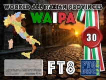 """WAIPA Award Manager IK8YFU In recognition of international two-way FT8 amateur radio communication, the FT8 Digital Mode Club (FT8DMC) issues Worked-All-Italian-Provinces certificates to amateur radio stations of the world. Qualification for the FT8 WAIPA award is based on an examination by the FT8 WAIPA Award Manager, from QSOs that the applicant has made with one amateur radio station from 30 (50,80,ALL) different Italian Provinces. All contacts must be made from the same country. Attention: """"Please make sure that the «COMMENT» field in your log contains the contacted station's province designator as per the list starting with a hash mark and """"IT"""". For example – if you made a QSO with a station working from Casteltermini in province Agrigento your comment field should be #ITAG. This is a mandatory requirement to make able the manager's software to check your application correctly."""""""