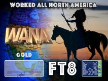 WANA Award Manager OE4VIE In recognition of international two-way FT8 amateur radio communication, the FT8 Digital Mode Club (FT8DMC) issues Worked-All-North-America certificates to amateur radio stations and SWL of the world. Qualification for the FT8 WANA award is based on an examination by the FT8 WANA Award Manager. The applicant has to prove that he has made contact with amateur radio stations from all North American Countries. Following levels available: Bonze 30 Silver 40 Gold ALL North American Countries worked. All contacts must be made from the same country (DXCC-entity).