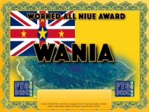 WANIA Award Manager ZL1MVL In recognition of international two-way FT8 amateur radio communication, the FT8 Digital Mode Club (FT8DMC) issues Worked-All-Niue-Award certificates to amateur radio stations and SWL of the world. Qualification for the FT8 WANIA award is based on an examination by the FT8 WANIA Award Manager. The applicant has to prove that he has made contact with at least 2 different amateur radio stations from Niue. All contacts must be made from the same country (DXCC entity)