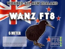 WANZ Award Manager ZL1MVL In recognition of international two-way FT8 amateur radio communication, the FT8 Digital Mode Club (FT8DMC) issues Worked-All-New-Zealand certificates to amateur radio stations and SWL of the world. Qualification for the FT8 WANZ award is based on an examination by the FT8 WANZ Award Manager. The applicant has to prove that he has made contact with New Zealand amateur radio stations with the Prefix ZL1 (4 QSO) ZL2 (3 QSO) ZL3 (2QSO) and ZL4 (1QSO) All contacts must be made from the same country (DXCC-entity). Band endorsements for 6, 10, 12, 15, 17, 20, 30, 40, 80 and 160m available.