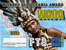 WAOA Award Manager YE1AR In recognition of international two-way FT8 amateur radio communication, the FT8 Digital Mode Club (FT8DMC) issues Worked-All-Oceanian-Award certificates to amateur radio stations and SWL of the world. Qualification for the FT8 WAOA award is based on an examination by the FT8 WAOA Award Manager. The applicant has to prove that he has made contact with amateur radio stations from all Oceanian Countries. Following levels available: Bonze 30 Silver 50 Gold ALL Oceanian Countries worked. All contacts must be made from the same country (DXCC-entity).