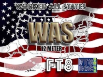 WAS Award Manager OE1SGU In recognition of international two-way FT8 amateur radio communication, the FT8 Digital Mode Club (FT8DMC) issues Worked-All-States certificates to amateur radio stations of the world. Qualification for the FT8 WAS award is based on an examination by the FT8 WAS Award Manager, from QSOs that the applicant has made with amateur stations in each of the 50 US States. All contacts must be made from the same country. Band endorsements for 6, 10, 12, 15, 17, 20, 30, 40, 80 and 160m available. QSOs IN YOUR LOGBOOK MUST CONTAIN 6-DIGGIT LOCATORS, EXAMPLE: FN41XY