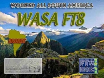 WASA Award Manager OE1SGU In recognition of international two-way FT8 amateur radio communication, the FT8 Digital Mode Club (FT8DMC) issues Worked-All-South-America certificates to amateur radio stations and SWL of the world. Qualification for the FT8 WASA award is based on an examination by the FT8 WASA Award Manager. The applicant has to prove that he has made contact with amateur radio stations from all South American Countries. Following levels available: Bonze 10 Silver 20 Gold ALL 30 South American Countries worked. All contacts must be made from the same country (DXCC-entity).