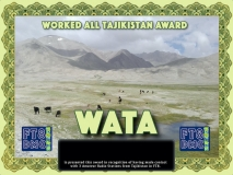 WATA Award Manager 9K2OW In recognition of international two-way FT8 amateur radio communication, the FT8 Digital Mode Club (FT8DMC) issues Worked-All-Tajikistan-Award certificates to amateur radio stations and SWL of the world. Qualification for the FT8 WATA award is based on an examination by the FT8 WATA Award Manager. The applicant has to prove that he has made contact with at least 3 different amateur radio stations from Tajikistan. All contacts must be made from the same country (DXCC entity)