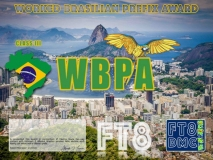 WBPA Award Manager LU1DLA In recognition of international two-way FT8 amateur radio communication, the FT8 Digital Mode Club (FT8DMC) issues Worked-Brasilian-Prefix-Award certificates to amateur radio stations of the world. Qualification for the FT8 WBPA award is based on an examination by the FT8 WBPA Award Manager, from QSOs that the applicant has made contact with with minimum 5 different Brasilian amateur radio stations each having call letters with a different prefix. All contacts must be made from the same country (DXCC-entity). Levels: Class III min. 5 prefixes, Class II min. 15 prefixes, Class I min. 30 prefixes