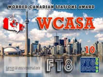 WCASA Award Manager IK8YFU In recognition of international two-way FT8 amateur radio communication, the FT8 Digital Mode Club (FT8DMC) issues Worked-Canadian-Stations-Award certificates to amateur radio stations and SWL of the world. Qualification for the FT8 WCASA award is based on an examination by the FT8 WCASA Award Manager. The applicant has to prove that he has made contact with at least 10 different amateur radio stations from Canada. All contacts must be made from the same country (DXCC entity). Levels: CLASSIII: 10Stationsworked CLASS II: 25 Stations worked CLASS I: 50 Stations worked