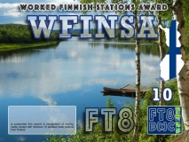 WFINSA Award Manager OE1SGU In recognition of international two-way FT8 amateur radio communication, the FT8 Digital Mode Club (FT8DMC) issues Worked-Finish-Stations-Award certificates to amateur radio stations and SWL of the world. Qualification for the FT8 WFINSA award is based on an examination by the FT8 WFINSA Award Manager. The applicant has to prove that he has made contact with at least 10 different amateur radio stations from Finland. All contacts must be made from the same country (DXCC entity). CLASSIII: 10Stationsworked CLASS II: 25 Stations worked CLASS I: 50 Stations worked