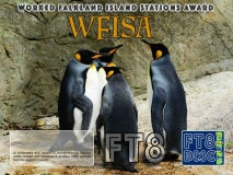 WFISA Award Manager OE4VIE In recognition of international two-way FT8 amateur radio communication, the FT8 Digital Mode Club (FT8DMC) issues Worked-Falkland Island-Stations-Award certificates to amateur radio stations and SWL of the world. Qualification for the FT8 WFISA award is based on an examination by the FT8 WFISA Award Manager. The applicant has to prove that he has made contact with at least 5 different amateur radio stations from the Fakland Islands. All contacts must be made from the same country (DXCC entity).