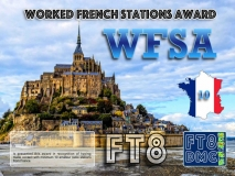 WFSA Award Manager F1ULQ In recognition of international two-way FT8 amateur radio communication, the FT8 Digital Mode Club (FT8DMC) issues Worked-French-Stations-Award certificates to amateur radio stations and SWL of the world. Qualification for the FT8 WFSA award is based on an examination by the FT8 WFSA Award Manager. The applicant has to prove that he has made contact with at least 10 different amateur radio stations from France. All contacts must be made from the same country (DXCC entity). Levels: CLASS III: 10 Stations worked CLASS II: 25 Stations worked CLASS I: 50 Stations worked
