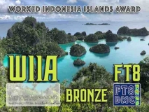 WIIA Award Manager YE1AR In recognition of international two-way FT8 amateur radio communication, the FT8 Digital Mode Club (FT8DMC) issues Worked-Indonesia-IOTA-Award certificates to amateur radio stations and SWL of the world. Qualification for the FT8 WIIA award is based on an examination by the FT8 WIIA Award Manager. The applicant has to prove that he has made contact with amateur radio stations from all call Indonesia IOTA reference. All contacts must be made from the same country (DXCC-entity). Following levels available: Bronze 10 Silver 20 Gold 30 Band endorsements available: 6/10/12/15/17/20/30/40/80/160