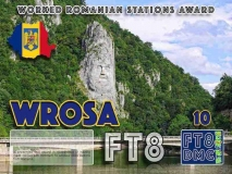 WROSA Award Manager OE1SGU In recognition of international two-way FT8 amateur radio communication, the FT8 Digital Mode Club (FT8DMC) issues Worked-Romanian-Stations-Award certificates to amateur radio stations and SWL of the world. Qualification for the FT8 WROSA award is based on an examination by the FT8 WROSA Award Manager. The applicant has to prove that he has made contact with at least 10 different amateur radio stations from Romania. All contacts must be made from the same country (DXCC entity). Levels: CLASSIII: 10Stationsworked CLASS II: 25 Stations worked CLASS I: 50 Stations worked