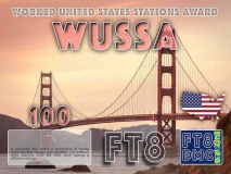 WUSSA Award Manager 9K2OW In recognition of international two-way FT8 amateur radio communication, the FT8 Digital Mode Club (FT8DMC) issues Worked-United-States-Stations-Award certificates to amateur radio stations and SWL of the world. Qualification for the FT8 WUSSA award is based on an examination by the FT8 WUSSA Award Manager. The applicant has to prove that he has made contact with minimum 100 different amateur radio stations from the United States of America each having a different callsign. All contacts must be made from the same country (DXCC entity). Levels: 100, 200, 300, 400, 500, 600, 700, 800, 900, 1000, 1500, 2000, 2500, 3000, 3500, 4000, 4500, 5000
