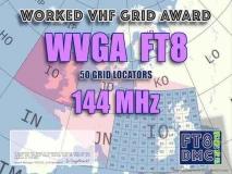 WVGA2 Award Manager F1ULQ In recognition of international two-way FT8 amateur radio communication, the FT8 Digital Mode Club (FT8DMC) issues Worked-VHF-GRID-Locators Award 144 MHz certificates to amateur radio stations and SWL of the world. Qualification for the FT8 WVGA2 award is based on an examination by the FT8 WVGA2 Award Manager. The applicant has to prove that he has made contact with amateur radio stations from 50 different Grid Locators on 144 MHz. Following levels available: 50, 100, 150, 250 and 500 different Grid Locators worked on 144 MHz. All contacts must be made from the same country (DXCC- entity).