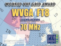 WVGA4 Award Manager F1ULQ In recognition of international two-way FT8 amateur radio communication, the FT8 Digital Mode Club (FT8DMC) issues Worked-VHF-GRID-Locators Award 70 MHz certificates to amateur radio stations and SWL of the world. Qualification for the FT8 WVGA4 award is based on an examination by the FT8 WVGA4 Award Manager. The applicant has to prove that he has made contact with amateur radio stations from 50 different Grid Locators on 70 MHz. Following levels available: 50, 100, 150, 250 and 500 different Grid Locators worked on 70 MHz. All contacts must be made from the same country (DXCC- entity).