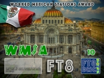 WMSA Award Manager LU1DLA In recognition of international two-way FT8 amateur radio communication, the FT8 Digital Mode Club (FT8DMC) issues Worked-Mexican-Stations-Award certificates to amateur radio stations and SWL of the world. Qualification for the FT8 WMSA award is based on an examination by the FT8 WMSA Award Manager. The applicant has to prove that he has made contact with at least 10 different amateur radio stations from Mexico. All contacts must be made from the same country (DXCC entity). Levels: CLASSIII: 10Stationsworked CLASS II: 25 Stations worked CLASS I: 50 Stations worked